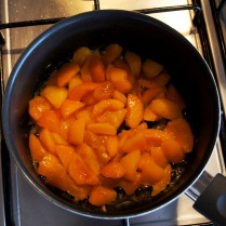 Simmer the apricots till tender