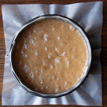 Pour the mixture into the tin