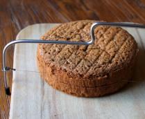Cut the cake in half horizontally
