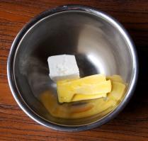 Beat cream cheese, juice, butter
