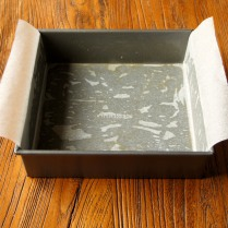 Grease & line square cake pan