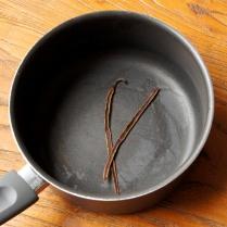 Vanilla pod in a saucepan