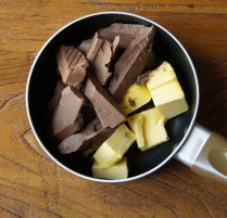 Chocolate+butter in a pan