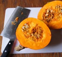 Cut pumpkin in half