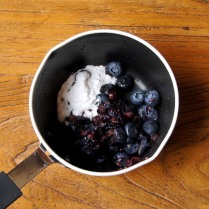 Mashed blueberries+icing sugar