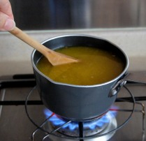 Place on medium heat, stir