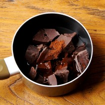 Choc+coffee powder+water