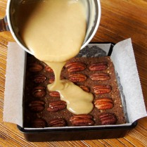 Pour over the pecan base