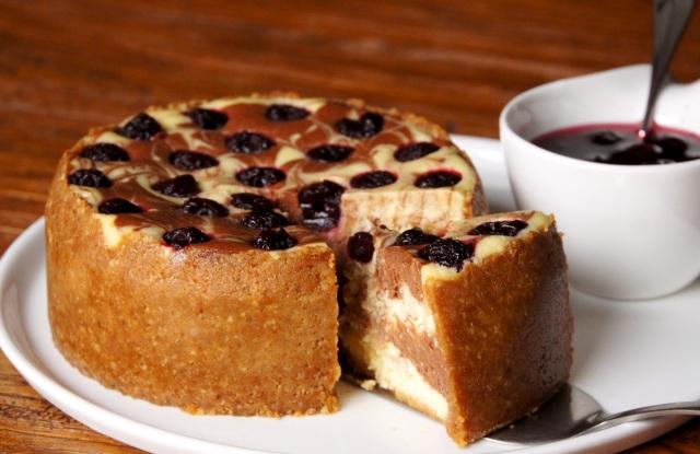 Sour Cherry Chocolate Cheesecake