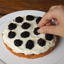Top with ½ blackberries