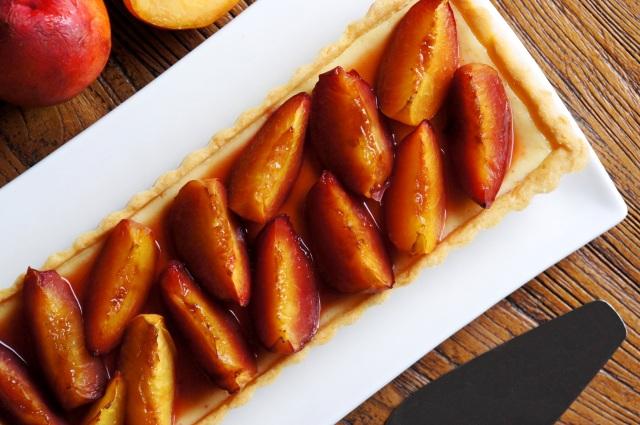 Orange and Roasted Nectarine Cheesecake Tart