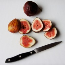 Thickly slice figs