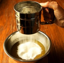 Sift in the flour