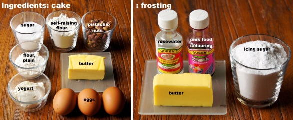 Ingredients: Pistachio Cake with Rosewater Frosting