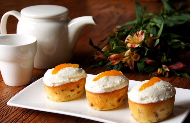 Apricot Friands with Orange Mascarpone Frosting