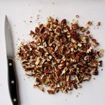 Chop pecans, reserve 25g