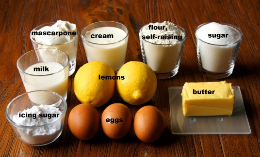 Ingredients: Lemon Cake with Lemon Mascarpone Cream