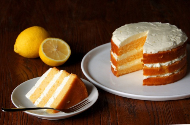 Lemon Cake with Lemon Mascarpone Cream
