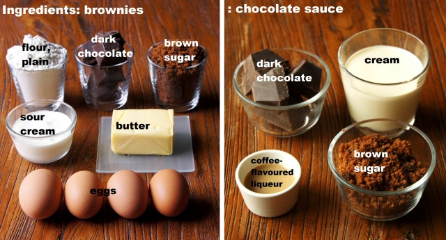 Ingredients: Chocolate Brownies with Warm Chocolate Sauce