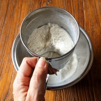 Sift flour several times