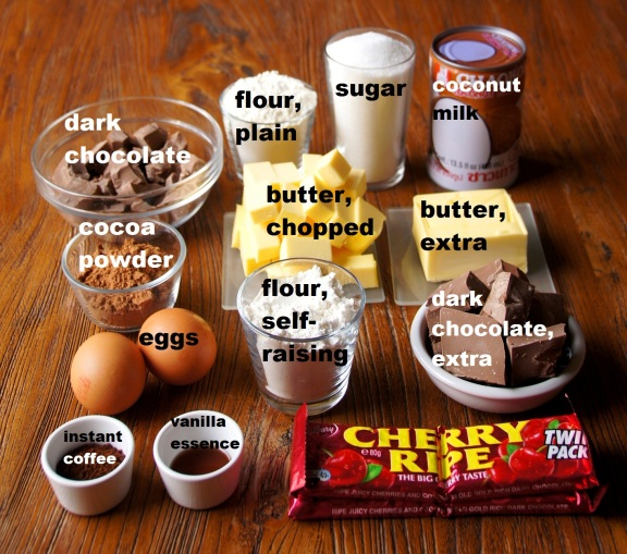 Ingredients: Cherry Ripe Mud Cake